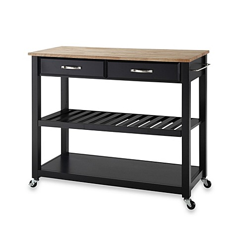 Crosley Natural Wood Top Rolling Kitchen Cart/Island With Removable Shelf