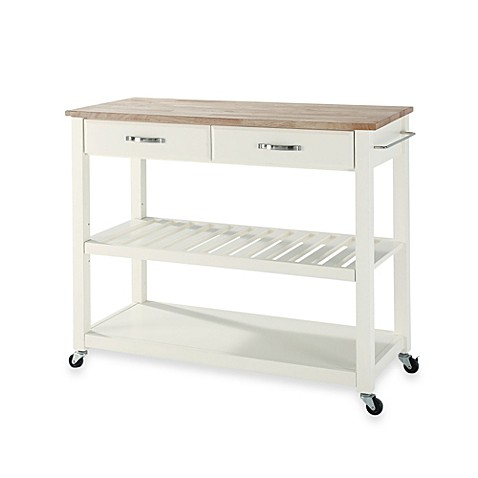 Buy Crosley Natural Wood Top Rolling Kitchen Cart Island With Removable Shelf In White From Bed