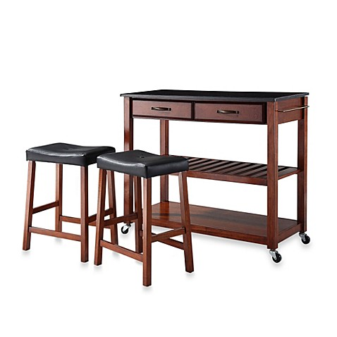 Buy Crosley Solid Black Granite Top Rolling Kitchen Cart Island With Upholstered Saddle Stools