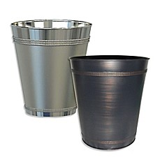 image of beaded metal wastebasket