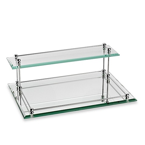 Buy taymor glass two tier valet tray from bed bath beyond for Bathroom tray for toiletries