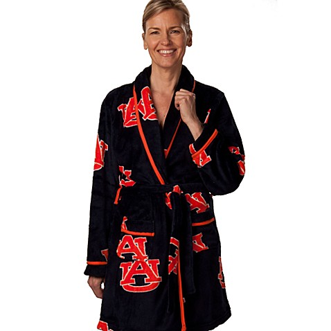 Auburn University Large Ladies Fleece Bathrobe in Navy