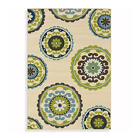 Oriental Weavers Caspian 2-Foot 5-Inch x 4-Foot 5-Inch Indoor/Outdoor Rug in Ivory