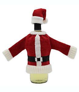 Suéter y gorro tejidos de Santa para botella de vino