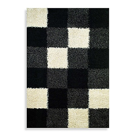 Concord Global Blocks Black Shag Rug Bed Bath Beyond