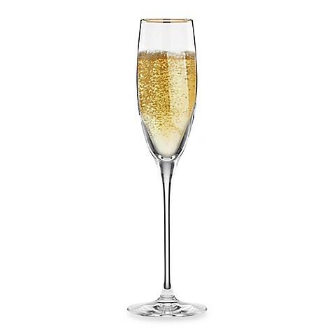 Lenox timeless gold signature wine toasting flute bed bath beyond - Lenox gold rimmed wine glasses ...