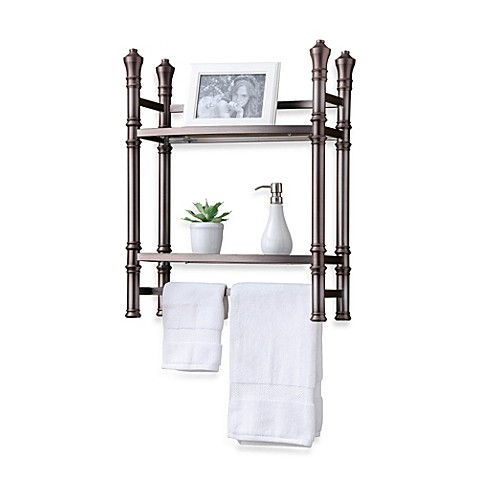 Monaco no tools small tag re in brushed titanium bed for Small bathroom etagere