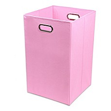 image of Modern Littles Rose Canvas Folding Laundry Bin in Solid Pink