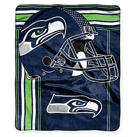 nfl seattle seahawks royal plush raschel throw