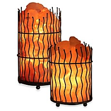 image of Himalayan Glow® Ionic Salt Crystal Wavy Basket Lamp
