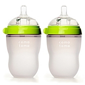 image of Comotomo™ 8-Ounce Baby Bottles in Green (2-Pack)