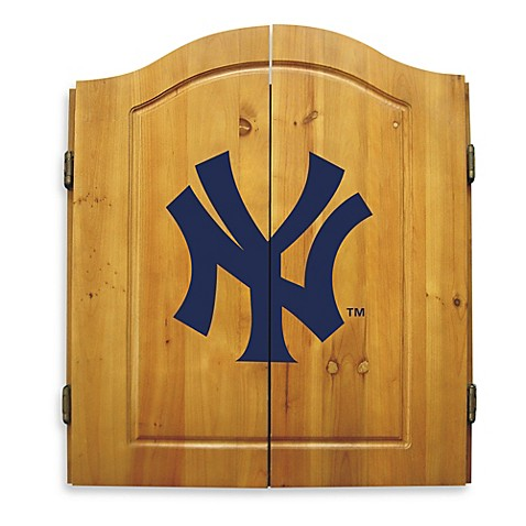 Mlb dart board with cabinet mlb new york yankees dart for Yankees bathroom decor