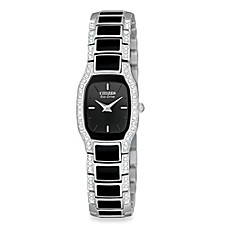 image of Citizen Ladies Eco-Drive Normandie Black and Silver Two-Tone Stainless Bracelet Watch