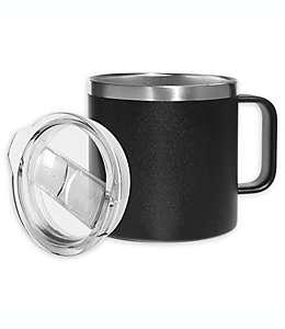 Taza de acero inoxidable con tapa Oggi™ color negro