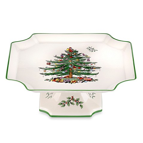 Spode Christmas Tree Footed Square Cake Plate Bed Bath Beyond