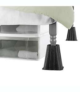Elevadores para cama de plástico SALT™ extra altos color negro, Set de 4