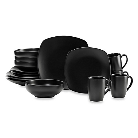 Gibson Home Paradiso 16-Piece Square Dinnerware Set in Black  sc 1 st  Bed Bath \u0026 Beyond & Gibson Home Paradiso 16-Piece Square Dinnerware Set in Black - Bed ...