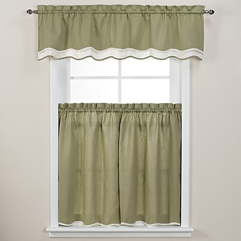 Buy Pipeline 36 Inch Window Curtain Tier Pair In Sage From Bed Bath Beyond