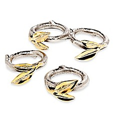 image of Godinger Two-Tone Leaf Napkin Rings (Set of 4)