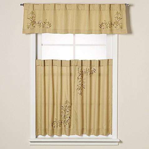 Scroll leaf window curtain tiers bed bath beyond for Window scroll