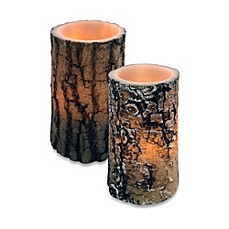 image of wax lodge bark carved flameless led candle