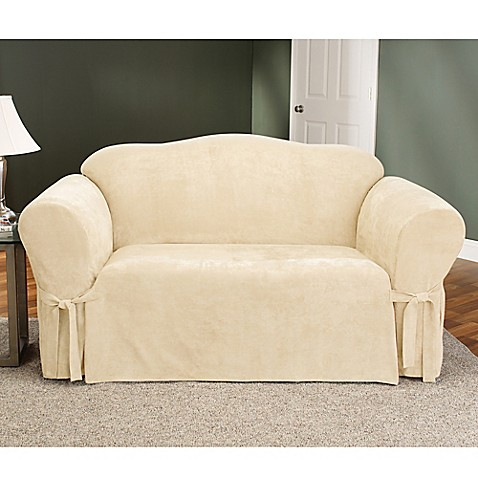 Sure fit soft suede loveseat furniture cover bed bath for Suede loveseat