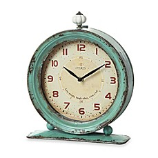 image of Creative Co-Op Metal Tabletop Clock in Aqua