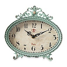 image of Creative Co-Op Pewter Tabletop Clock in Aqua