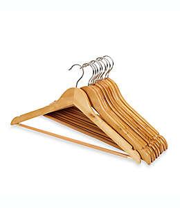 Ganchos de madera para trajes en café claro, Paquete de 10