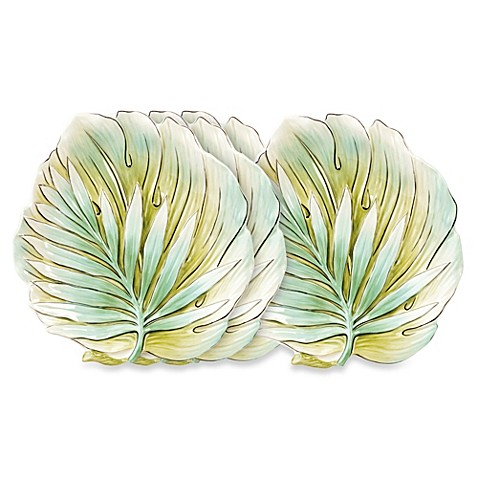 Fitz and floyd cockatoo 9 inch canape plates set of 4 for Fitz and floyd canape plate