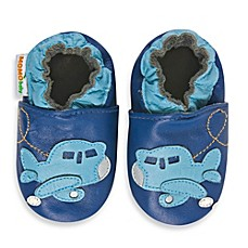 image of MomoBaby Soft Sole Leather Sneakers in Airplane Blue