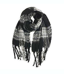 Bufanda para mujer a cuadros Isaac Mizrahi en negro