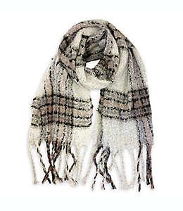 Bufanda para mujer a cuadros Isaac Mizrahi en blanco antiguo