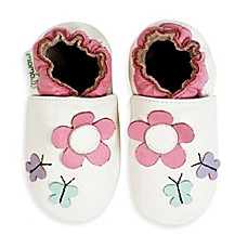 image of MomoBaby Soft Sole Leather Daisy & Butterfly Shoes in Light in White