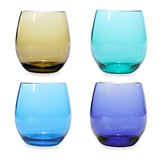 image of Oenophilia Stemless Wine Glass Set in Jeweltone Colors (Set of 4)