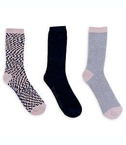 Calcetines tipo chenilla para mujer Brookstone® en rosa/azul, Paquete de 3 pzas.