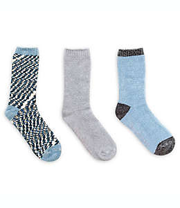 Calcetines tipo chenilla para mujer Brookstone® en gris/azul, Paquete de 3 pzas.