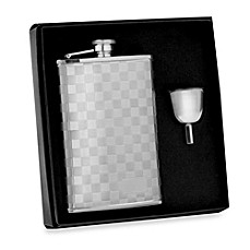 image of Wilouby Stainless Steel 8-Ounce Checkered Flask in Gift Box