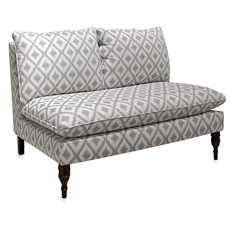 Skyline Furniture Armless Chaise in Ikat Fret Pewter