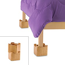 image of Blond Wooden Bed Lifts (Set of 4)