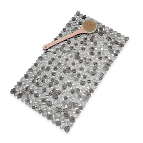 image of pebble bath mat in grey - Teak Bath Mat