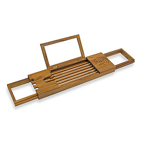 image of teak bathtub caddy - Teak Bath Mat