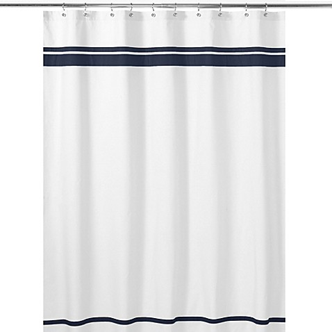 Buy Sweet Jojo Designs Hotel Shower Curtain In White Navy From Bed Bath Beyond