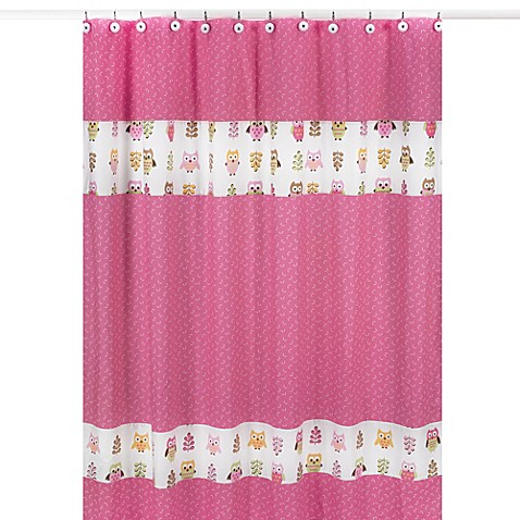 Sweet Jojo Designs Happy Owl Shower Curtain In Pink Bed