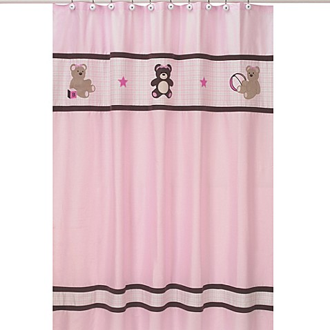 Kids bath decor sweet jojo designs teddy bear shower for Sweet jojo designs bathroom
