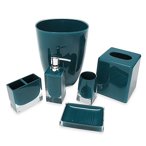 Memphis bath accessory collection in teal bed bath beyond for Bathroom accessories collection