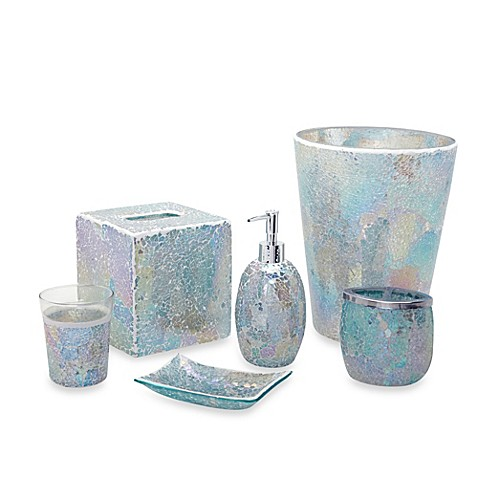 India ink aurora pastel cracked glass bath accessory for Blue and gold bathroom sets