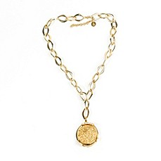 image of ChristineDarren 22K Gold Plated Round Bold Drusy Pendant with Necklace