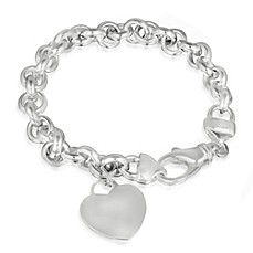 image of Sterling Silver Bracelet with Dangling Heart Pendant