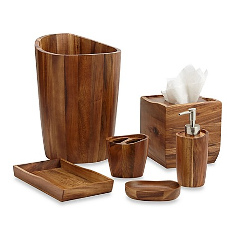 acacia vanity bathroom accessories - bed bath & beyond